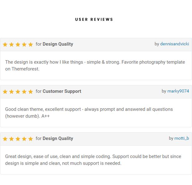 Photographer Template User Reviews