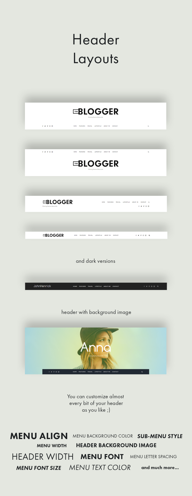 theblogger header layouts