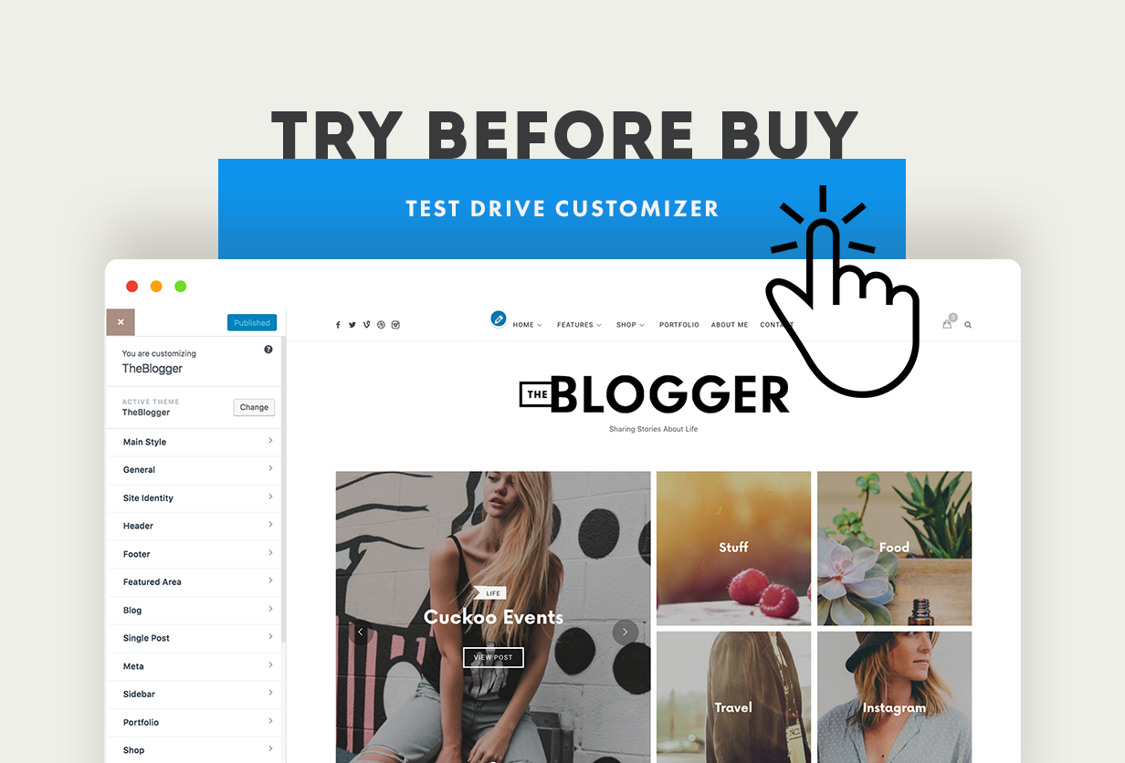theblogger customizer test drive